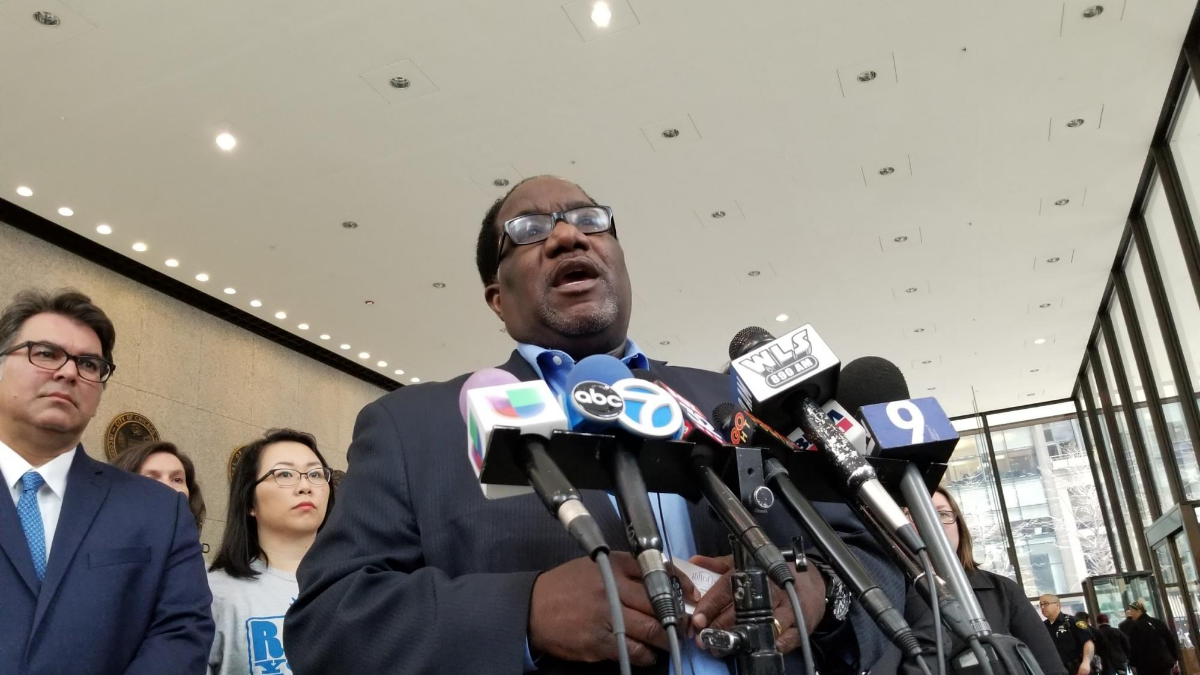 """Rev. Marshall Hatch, pastor of New Mount Pilgrim Missionary Baptist Church of West Garfield Park, was among activists who spoke outside Cook County Circuit Court after a lawsuit was filed against the city over the Lincoln Yards TIF. Hatch said subsidies to projects like Lincoln Yards have created a """"tale of two cities"""" in Chicago."""