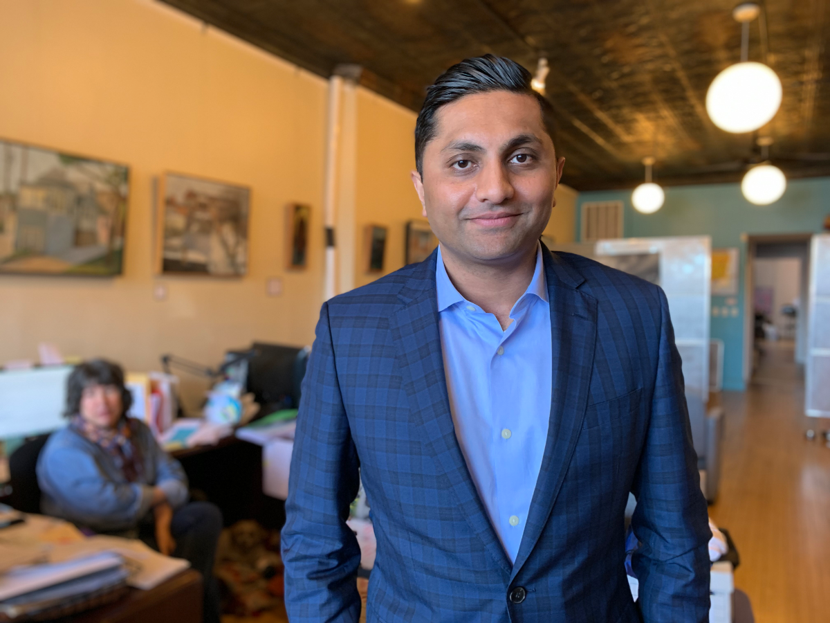 Ameya Pawar, photographed here in the 47th Ward office during his last days as alderman, was the first Asian American to be elected to the Chicago City Council.