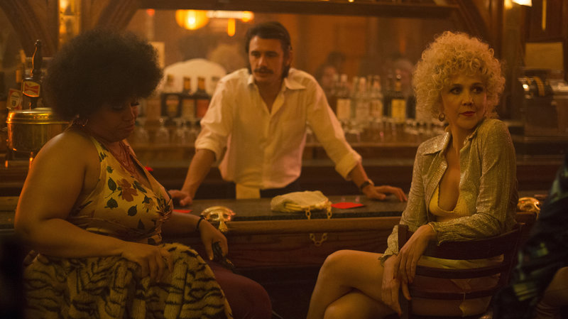 'The Deuce' takes place in 1970s New York, as pornography is becoming legal. (Pictured: Pernell Walker, James Franco and Maggie Gyllenhaal.) Photo by Paul Schiraldi/HBO.