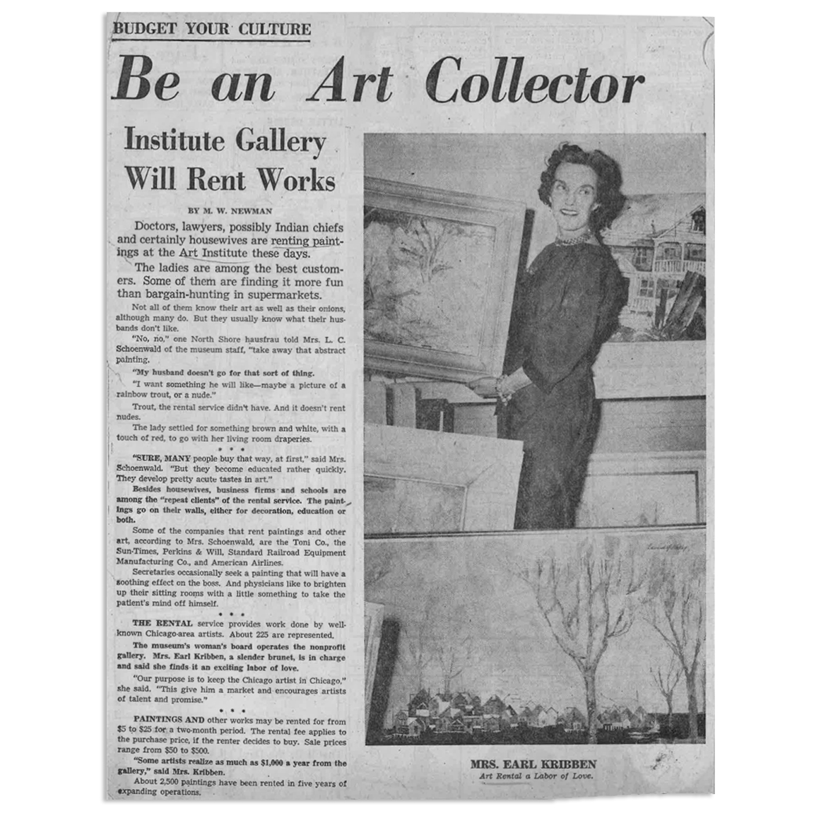 The women who helped run the Art Institute's rental program were often referred to by their husbands' names in newspaper reports. For example, this March 1959 story in the Chicago Daily News features a photo of Mrs. Earl Kribben, who helped lead the Art Rental and Sales Gallery. (Photo courtesy Chicago Sun-Times.)