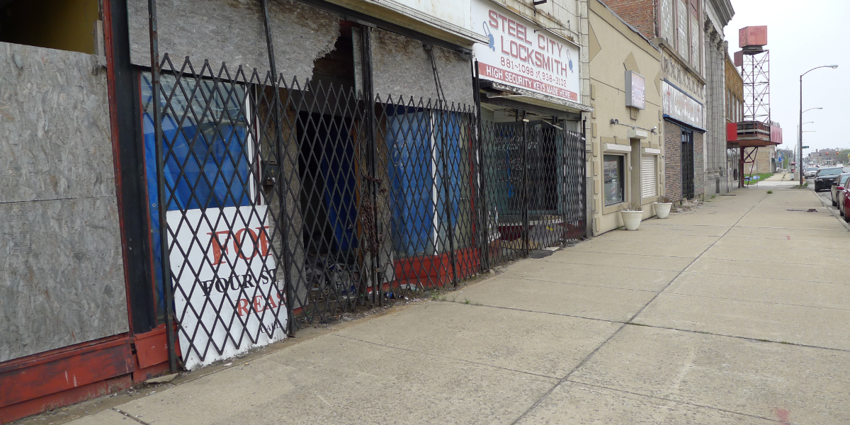 Gary's formerly thriving Broadway Street shows signs of the blight that has plagued the city for decades.