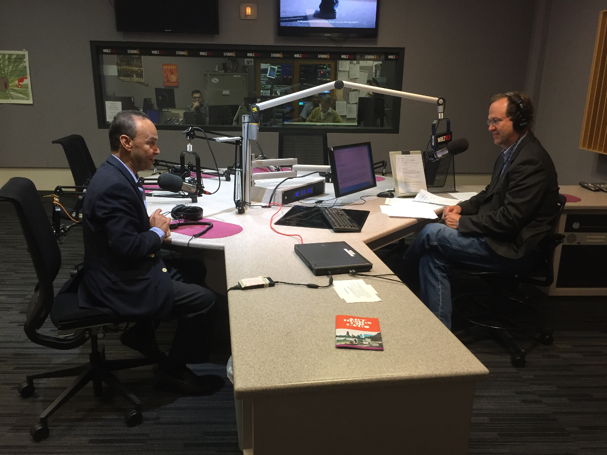 U.S. Rep. Luis Gutierrez joins Worldview host Jerome McDonnell in the WBEZ studios on Monday, June 25, 2018. (Galilee Abdullah/WBEZ)