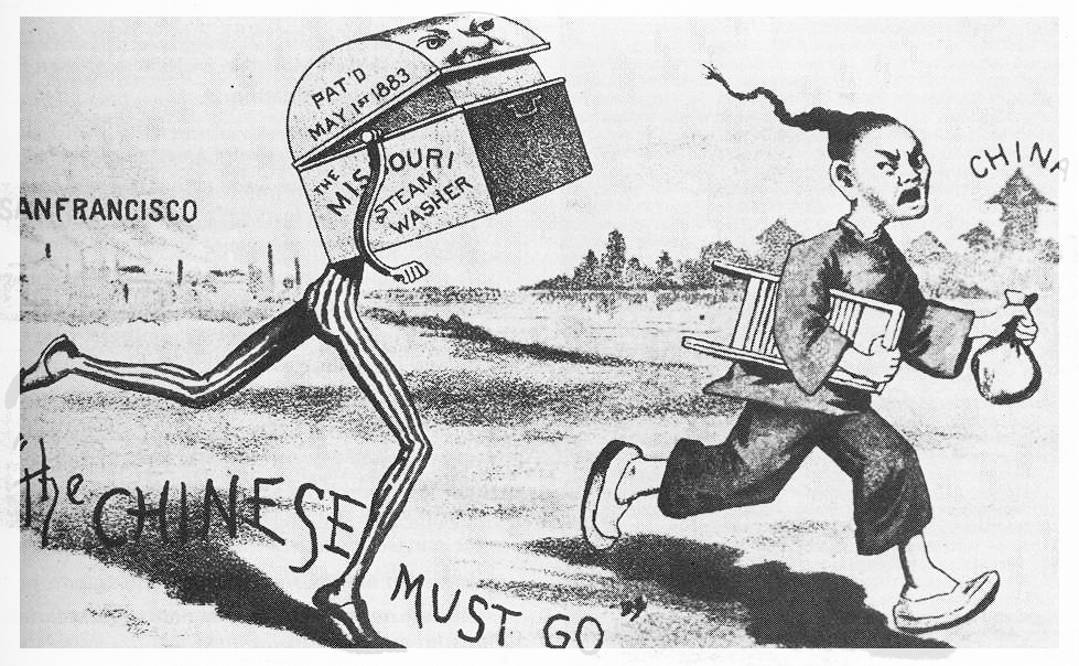 Racist cartoons of the Chinese became popular around the time of the Chinese Exclusion Act of 1882.