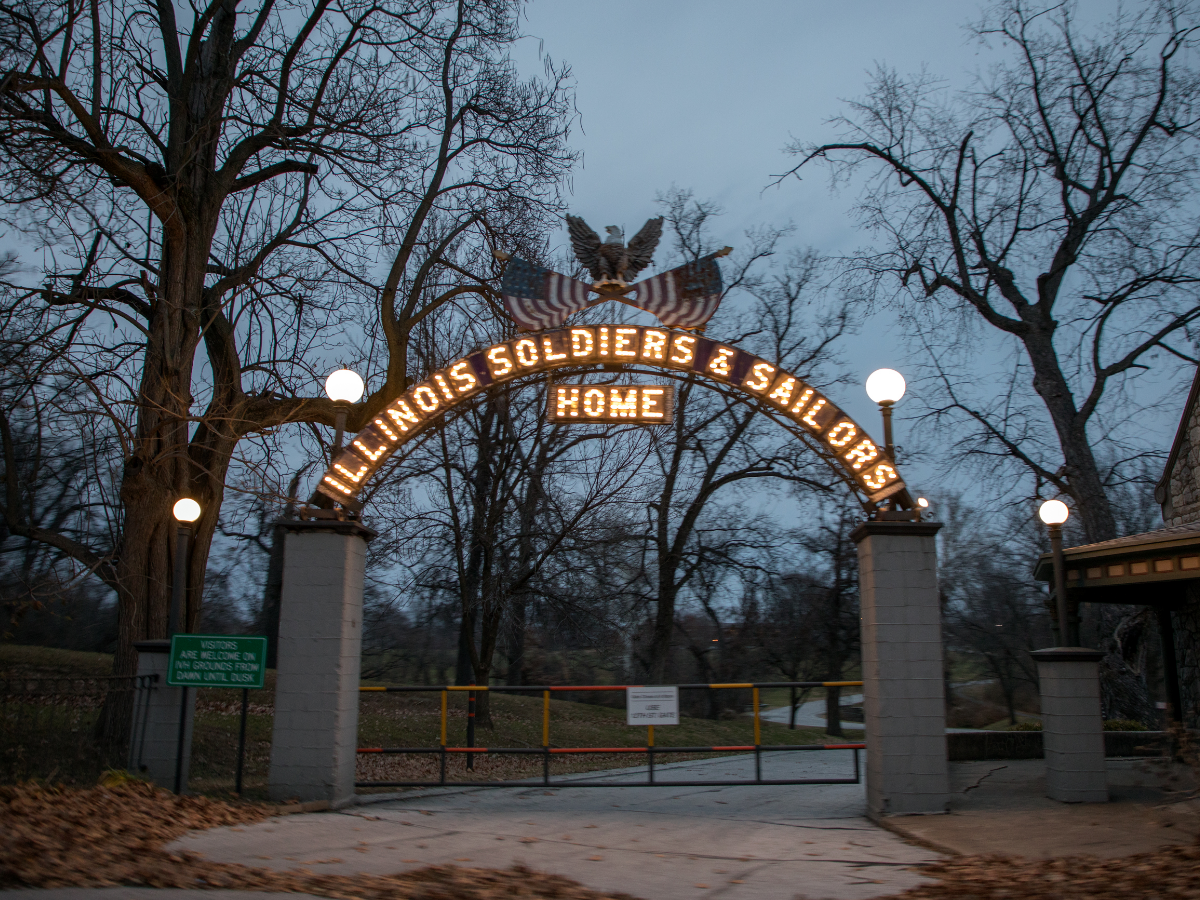 The side entrance to the Illinois Veterans Home in Quincy. (Andrew Gill/WBEZ)