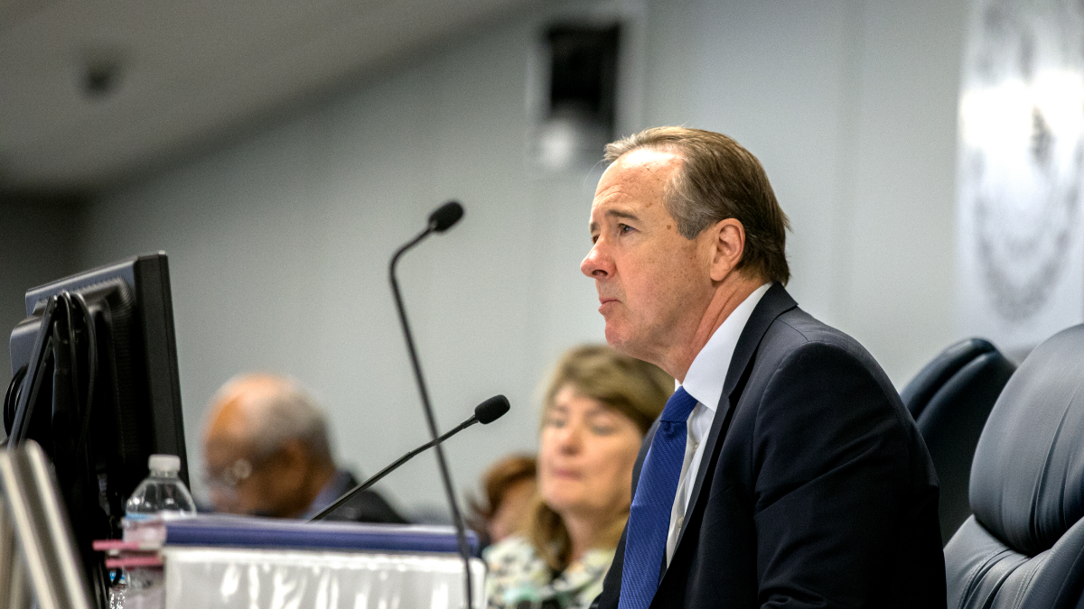 Chicago Public Schools CEO Forrest Claypool at an August 2017 Chicago Board of Education meeting. Claypool's resignation comes one day after the school system's inspector general called for him to be fired. (Andrew Gill/WBEZ)