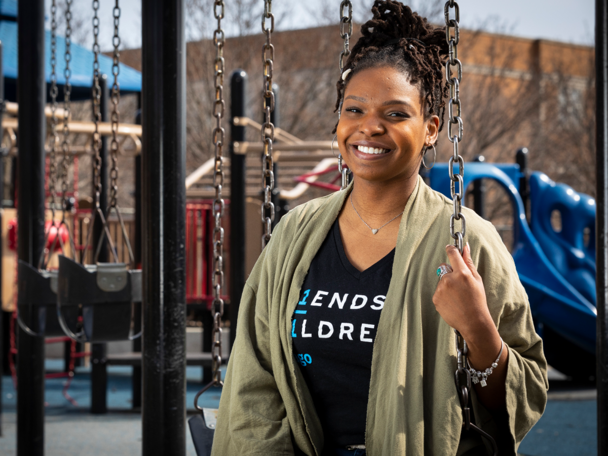 Melanie Adams is a mentor with Friends of Children, a group that works with Chicago students for 12 years. The mentors work with students at school but also take them on outings, such as to the playground or to museums.