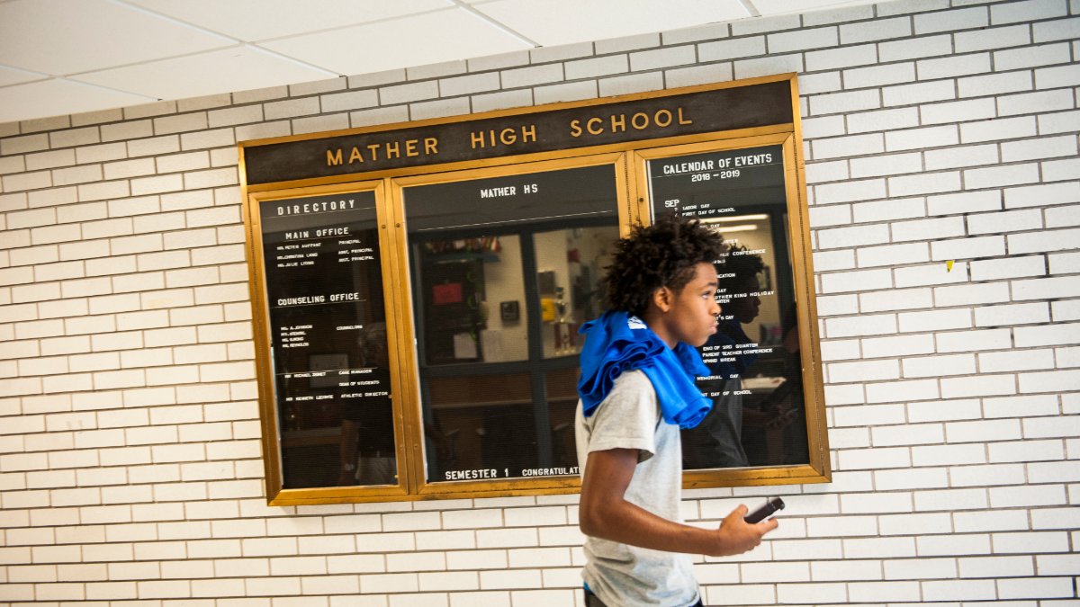 Higher enrollment at Mather High School this year will likely boost its budget next fall. Schools that see an enrollment drop this year will likely see their budgets cut next fall. (Bill Healy/WBEZ)