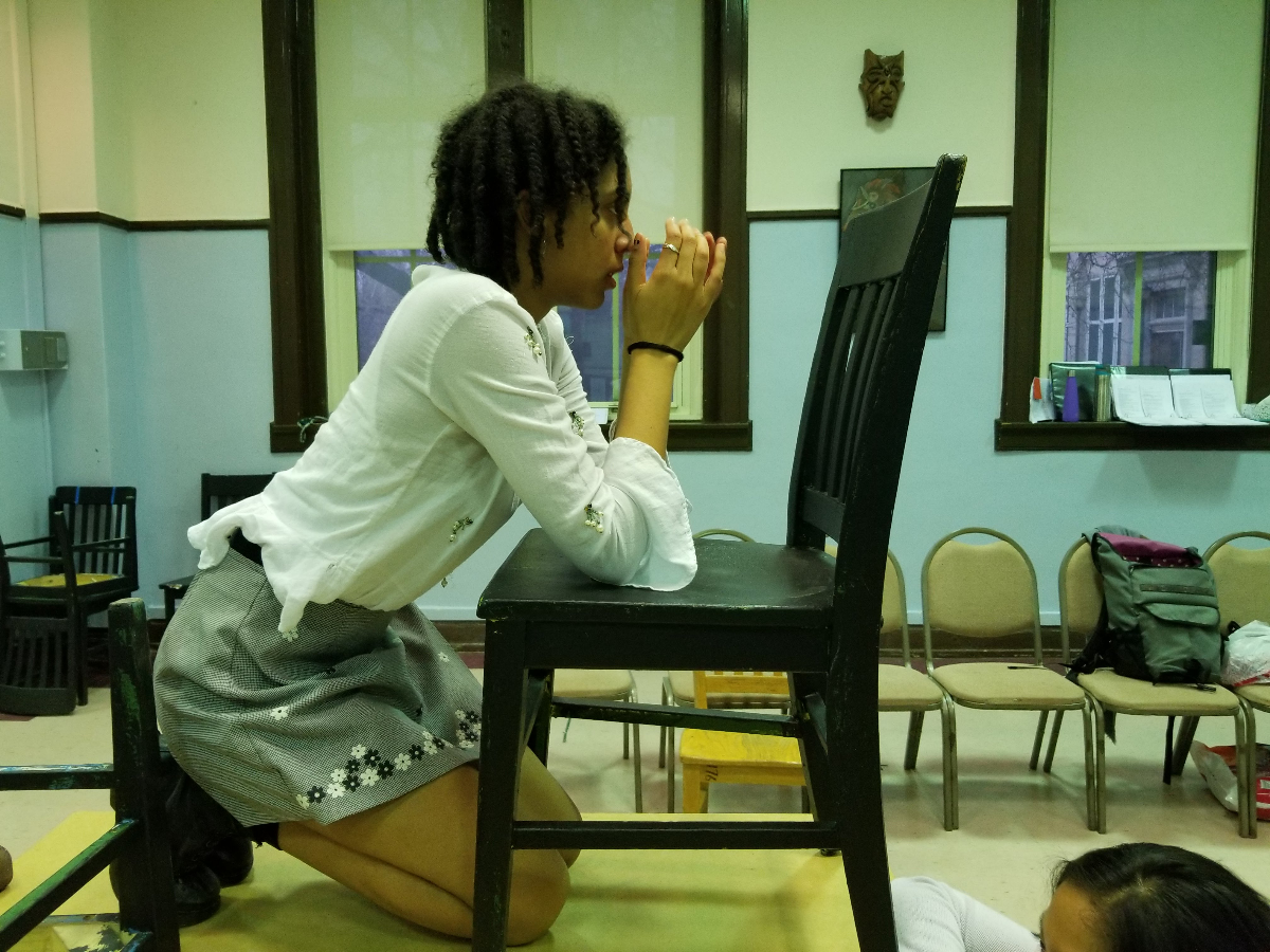 Rory Hayes, 17, at a recent rehearsal for the play 'columbinus.' Hayes' character is based off a Christian student named Kassie who was killed in the massacre at Columbine High School in 1999. (Linda Lutton/WBEZ)