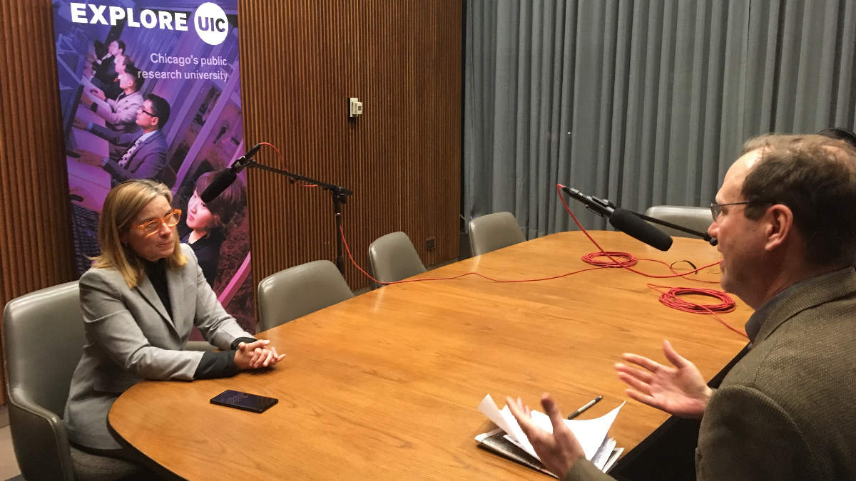 San Juan Mayor Carmen Yulín Cruz spoke with Worldview host Jerome McDonnell after her keynote address at the University of Illinois at Chicago on Friday, April 20, 2018. (Courtesy of UIC)