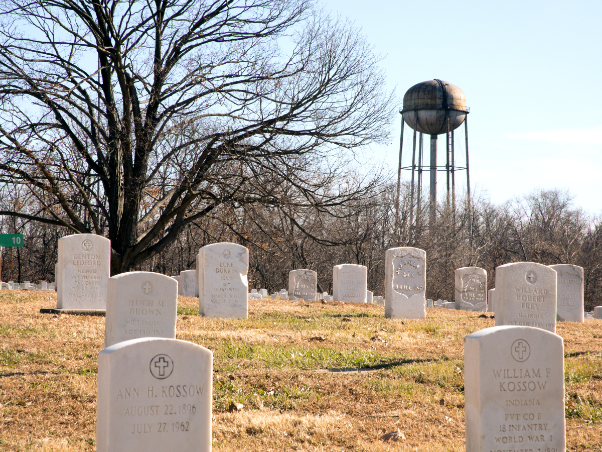 With a rusting water tower punctuating the skyline, the campus of the Illinois Veterans Home in Quincy includes a military cemetery. (Andrew Gill/WBEZ)