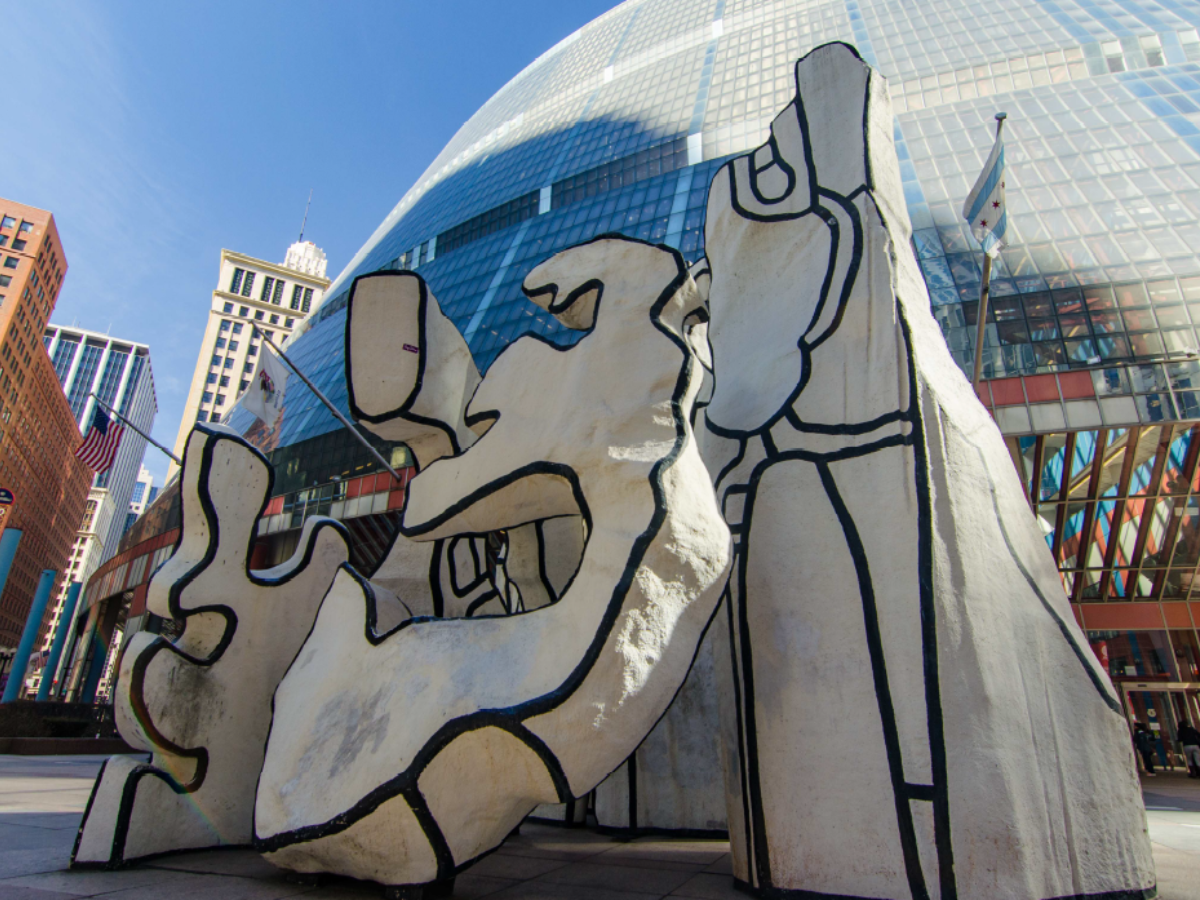 Miller said the fate of 'Monument with Standing Beast' is unknown due the possible sale of the Thompson Center, background, by the State of Illinois. (Eric Allix Rogers/Courtesy of Preservation Chicago)