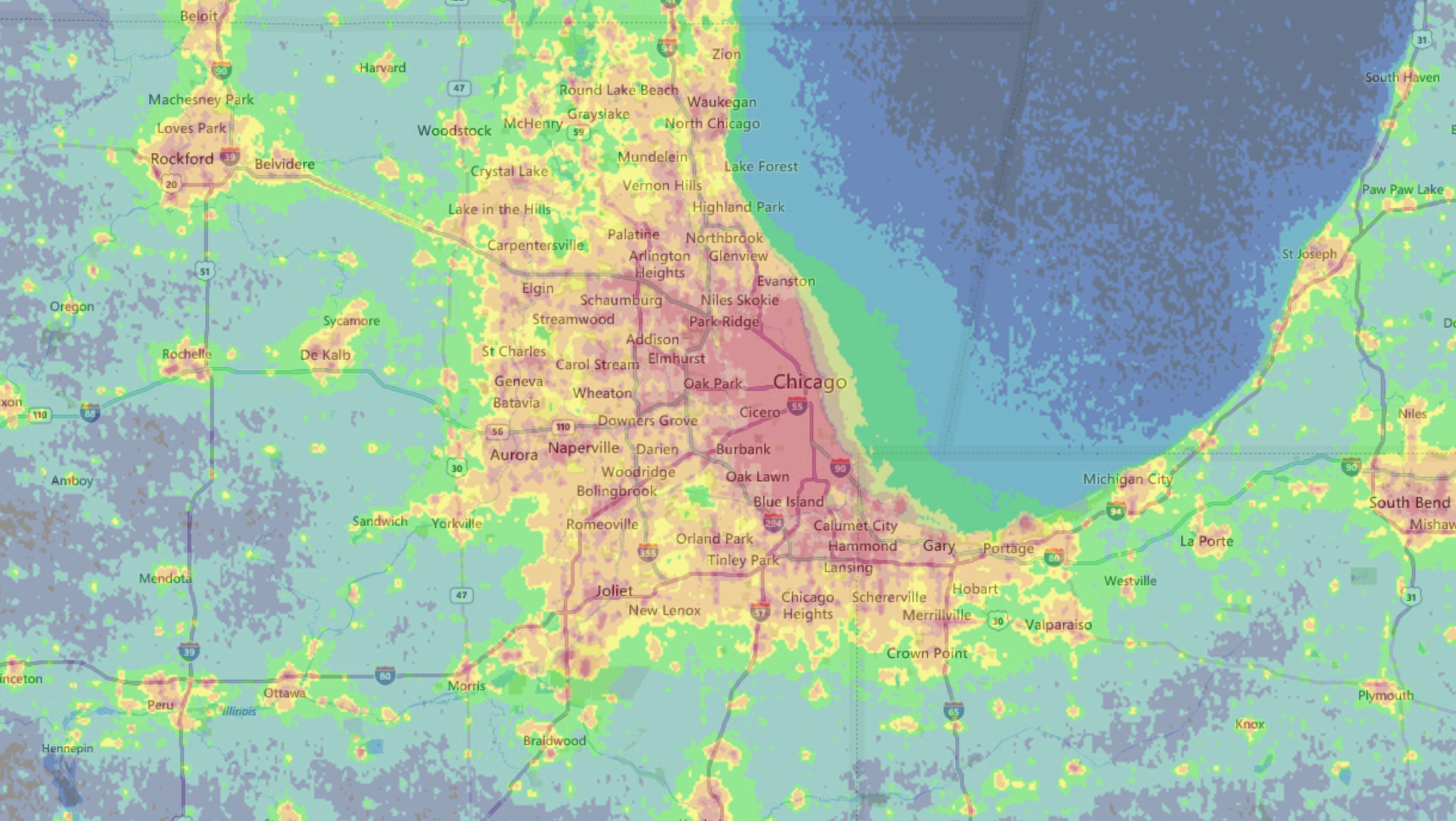 Light pollution in Chicago limits the visibility of the stars to the unaided eye. This heat map for light pollution shows places in the Chicagoland area where you might not be able to see as many stars as other areas. (Courtesy https://www.lightpollutionmap.info)