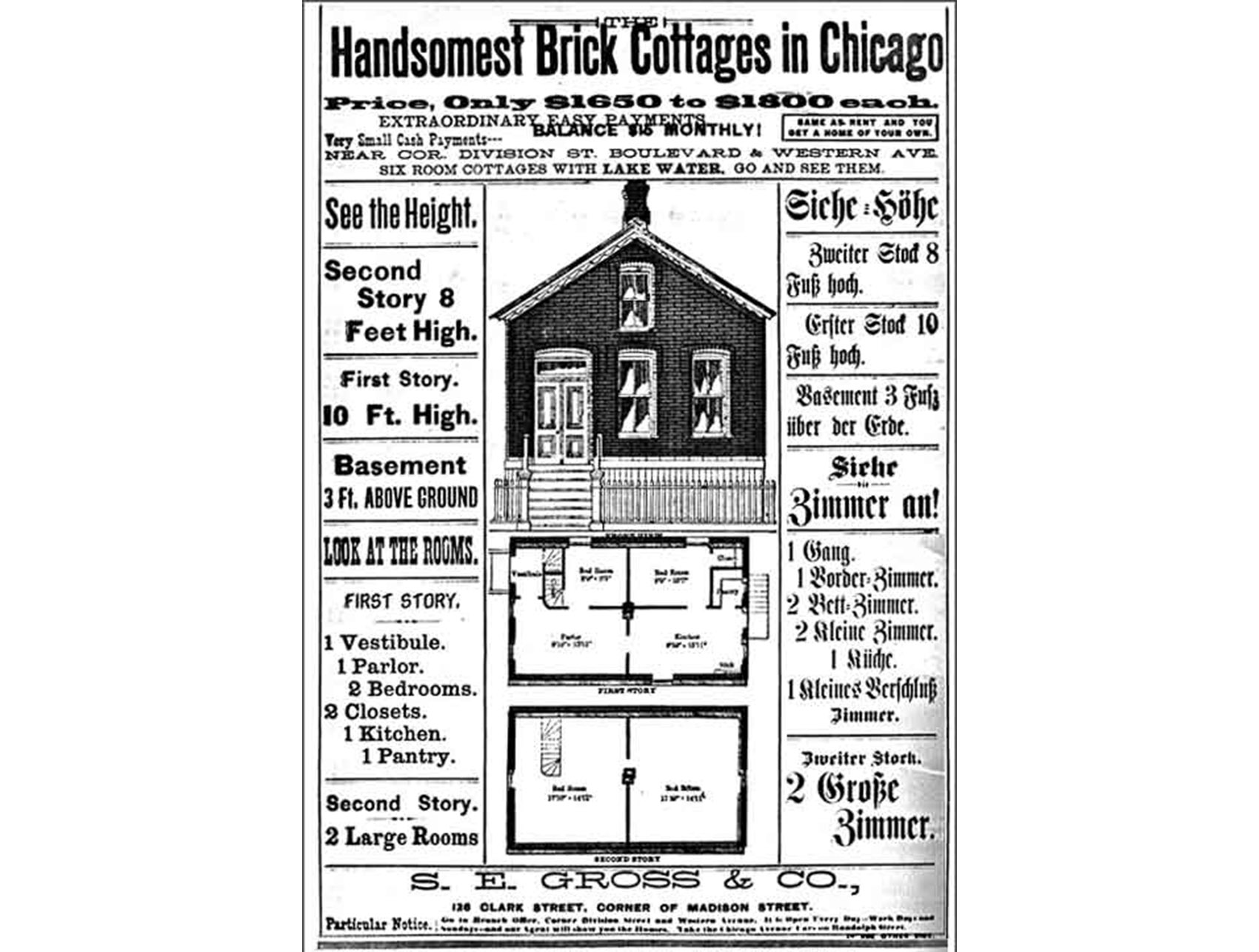 An 1883 flyer advertised the availability of inexpensive brick cottages in Chicago for would-be factory workers. (Courtesy Chicago History Museum ICHi-06577)