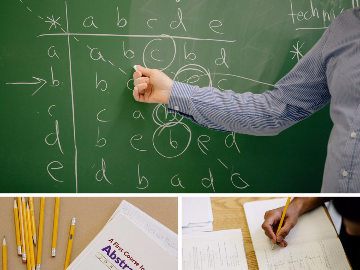 Bard Prison Initiative visiting professor Japheth Wood breaks down an abstract algebra equation during a class. The program, which was initiated in 1999 by a group of student volunteers from Bard College, has since granted over 375 degrees. (Cameron Robert/NPR)