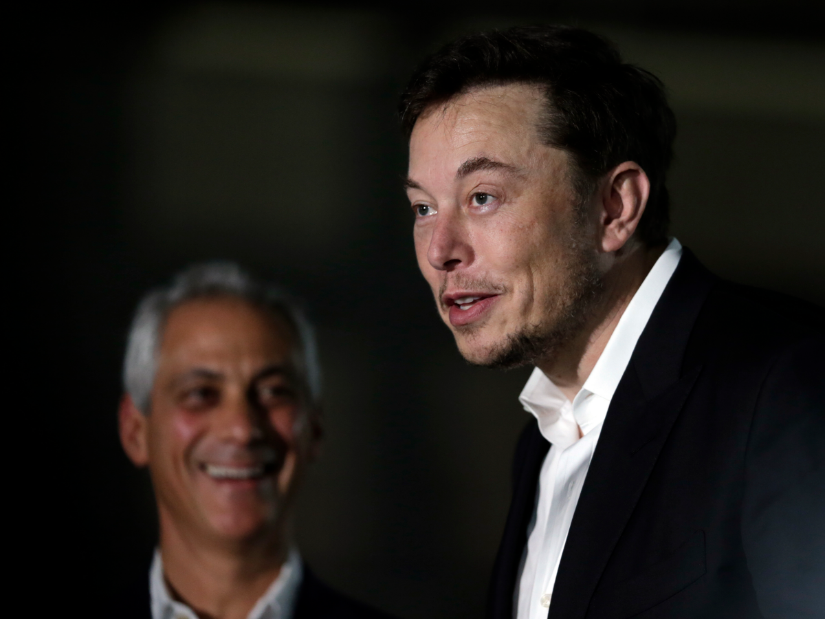 Emanuel (left) and Musk (right) held a press conference in June, where they talked about The Boring Company's plans to whisk passengers from Downtown Chicago to O'Hare in mere minutes. (Kiichiro Sato/AP Photo)