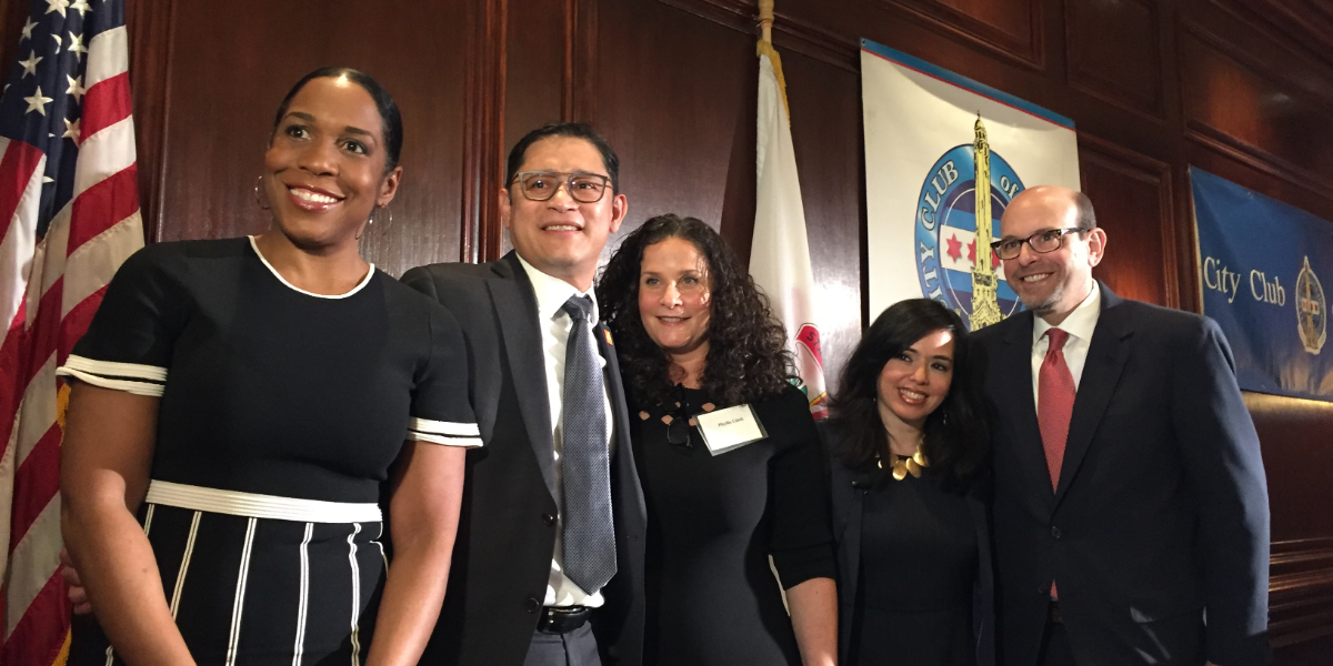 Lt. Gov. Juliana Stratton joined members of the Erikson Institute, Metropolitan Family Services and the Irving Harris Foundation at City Club of Chicago on Monday. From left to right: Lt. Gov. Juliana Stratton; Ric Estrada, CEO of Metropolitan Family Services; Phyllis Glink, executive director of the Irving Harris Foundation; Cristina Pacione-Zayas of the Erikson Institute; and Geoffrey Nagle, CEO of the Erikson Institute.