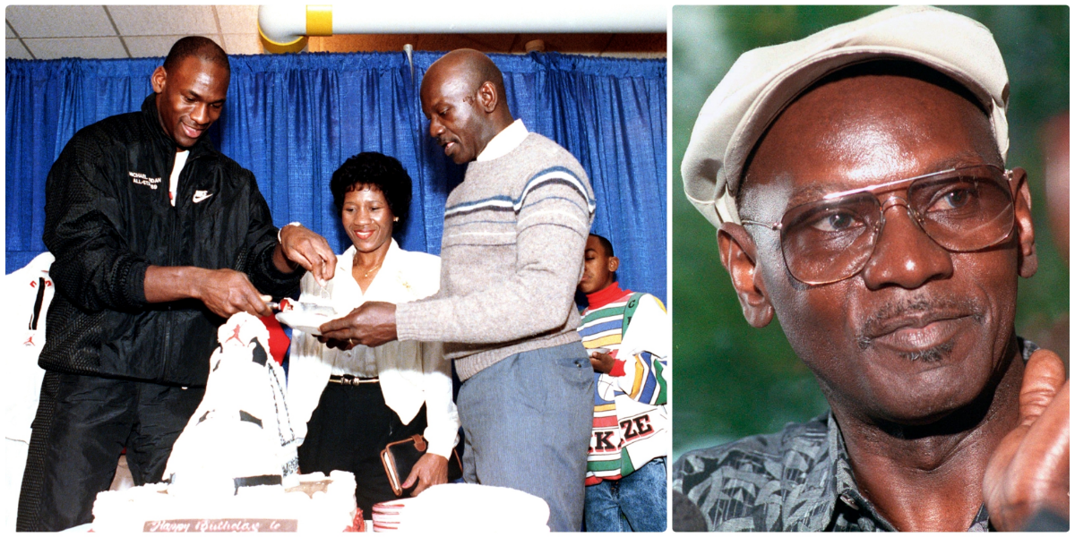 Chicago Bulls' Michael Jordan serves his father, James, a slice of birthday cake as his mother, Doloris, watches during a party in honor of Jordan's 26th birthday in Chicago in February 1989. James Jordan, pictured on the right, was killed July 23, 1993, and his body was found 11 days later in a South Carolina swamp. (AP File Photos by Charles Bennett and Tim Boyle)
