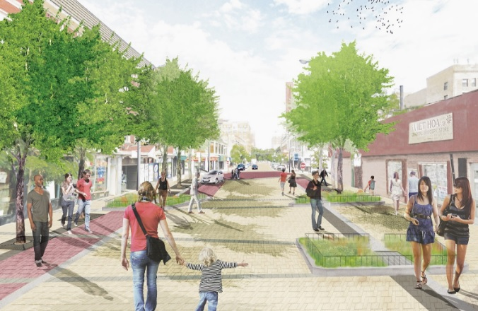 An illustration of the Argyle Shared Street initiative, which installed infiltration planters and permeable pavement to absorb water runoff. (Courtesy site design group, ltd.)