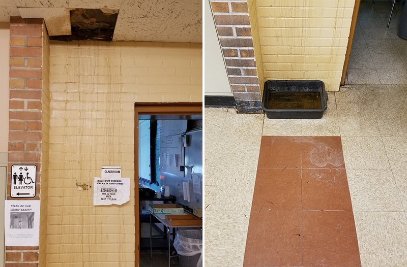 The hole in the ceiling at Washington High School is just one of many pressing repair needs at the school. A group of Washington students went to a recent Chicago Board of Education meeting to ask if and when their school will ever be repaired. (Provided photo)