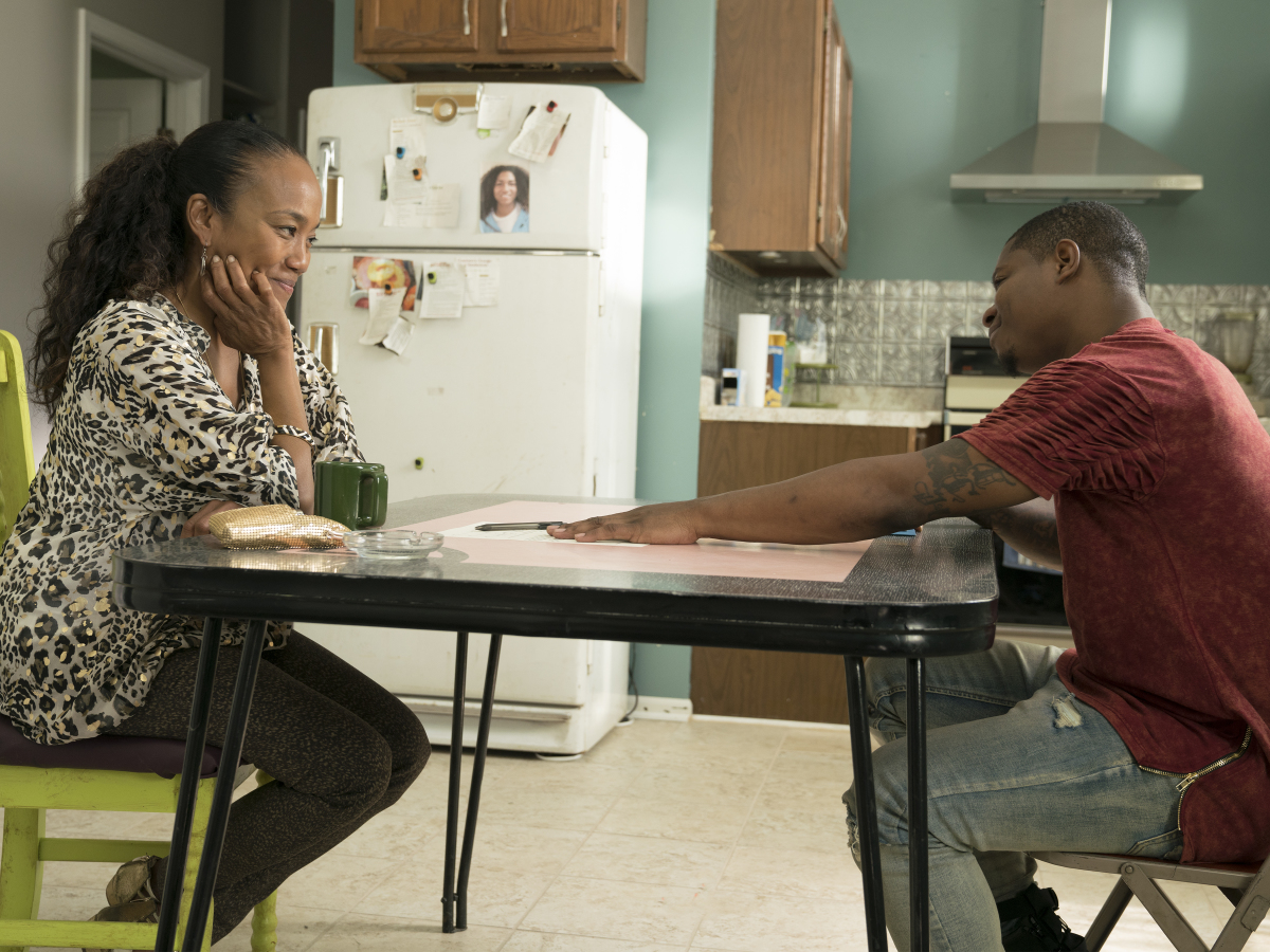 Sonja Sohn as Laverne and Jason Mitchell as Brandon. (Parrish Lewis/SHOWTIME)