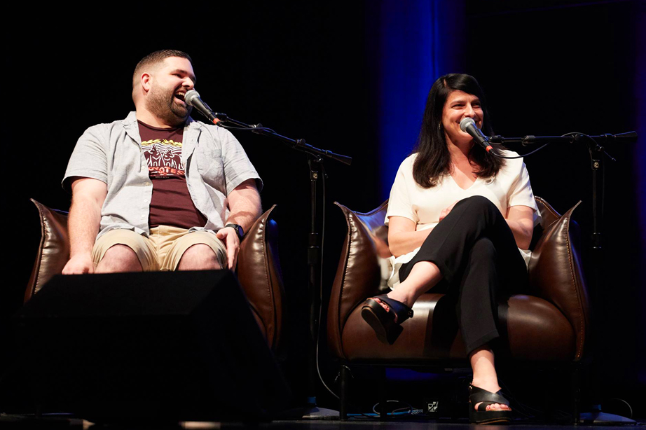 Questioner Devin Henderson joined Curious City editor Alexandra Salomon on stage when Science Friday hosted its live event at the Harris Theater. 'It was a dream come true,' says Devin.