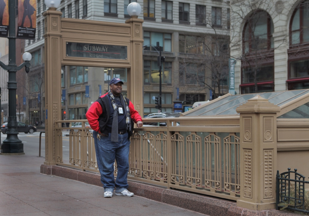 Cunningham says that when he slept on the 'L' all night, he had to look out for security guards. (WBEZ/Maggie Sivit)