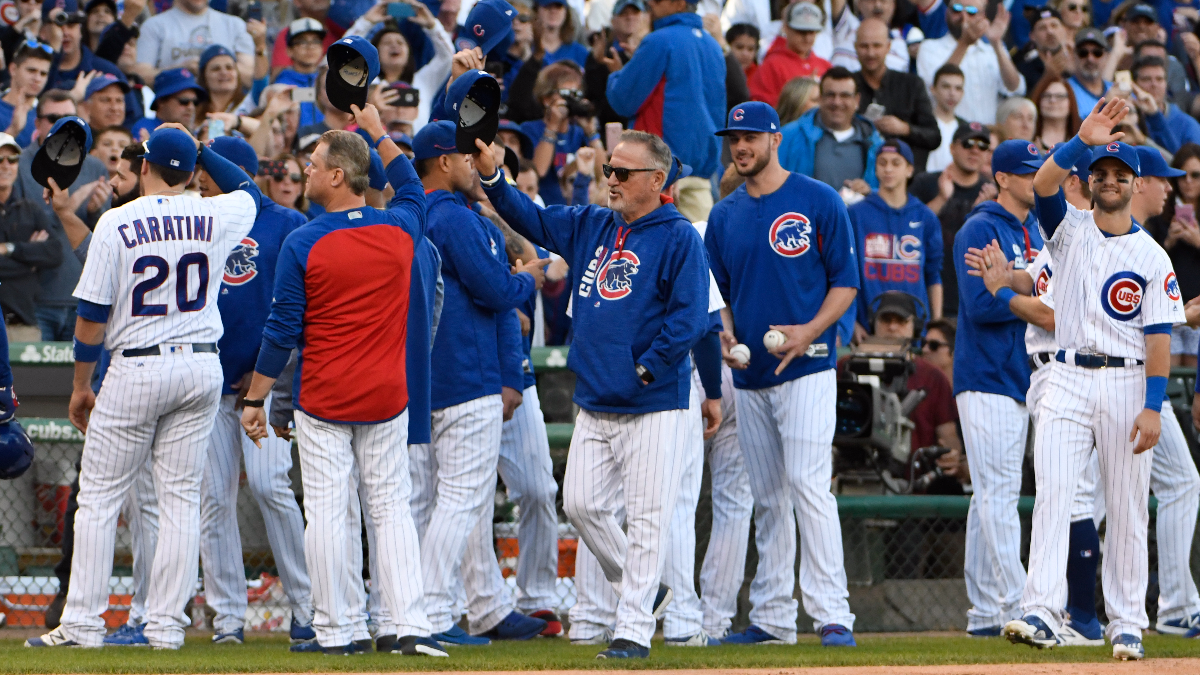 The Chicago Cubs acknowledge their fans after the last regular season baseball game against the Cincinnati Reds, Sunday, Oct. 1, 2017, in Chicago. The Reds defeated the Cubs 3-1. (AP Photo/David Banks)