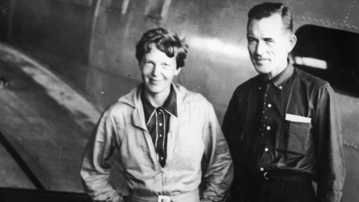 Earhart with Noonan in Natal, Brazil, in June 1937. (Topical Press Agency/Getty Images)