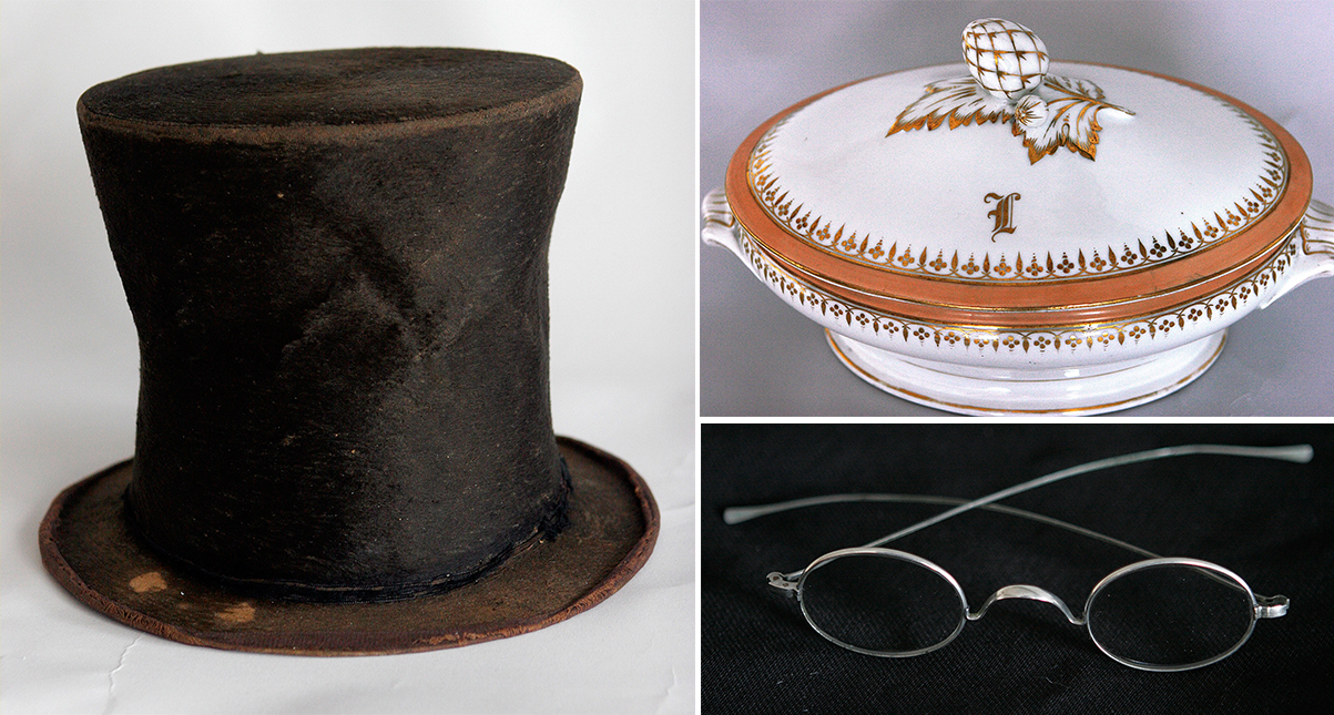 The Abraham Lincoln Presidential Library Foundation acquired the hat in question (left) as part of the Taper Collection in 2007. The collection also includes a serving dish that had belonged to Lincoln and the eyeglasses Lincoln had been wearing on the night of his assassination. (Seth Perlman/AP Photo)
