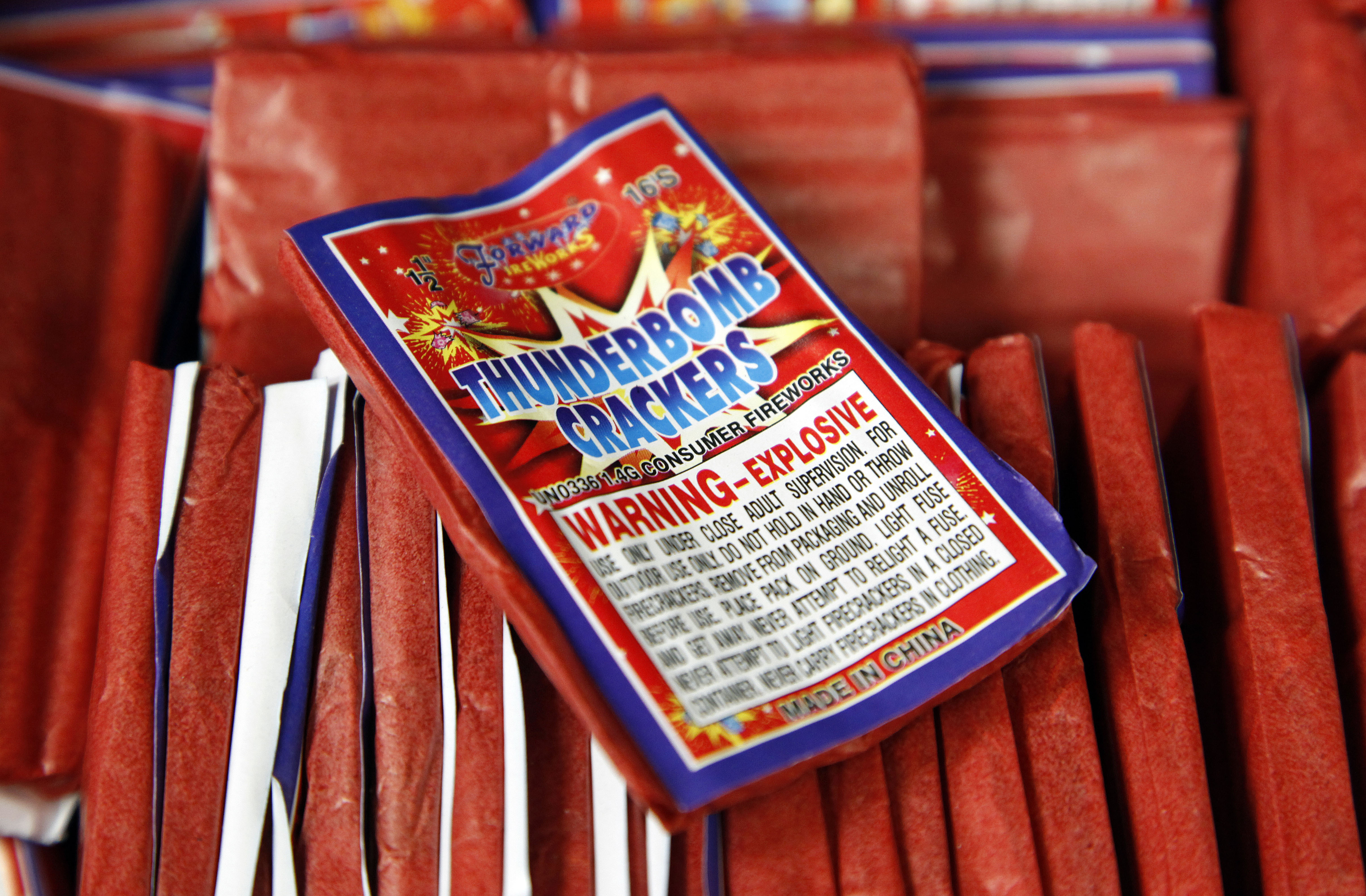 A pack of firecrackers is shown at Southgate Fireworks in Southgate, Mich., on May 24, 2012. (Paul Sancya/Associated Press)