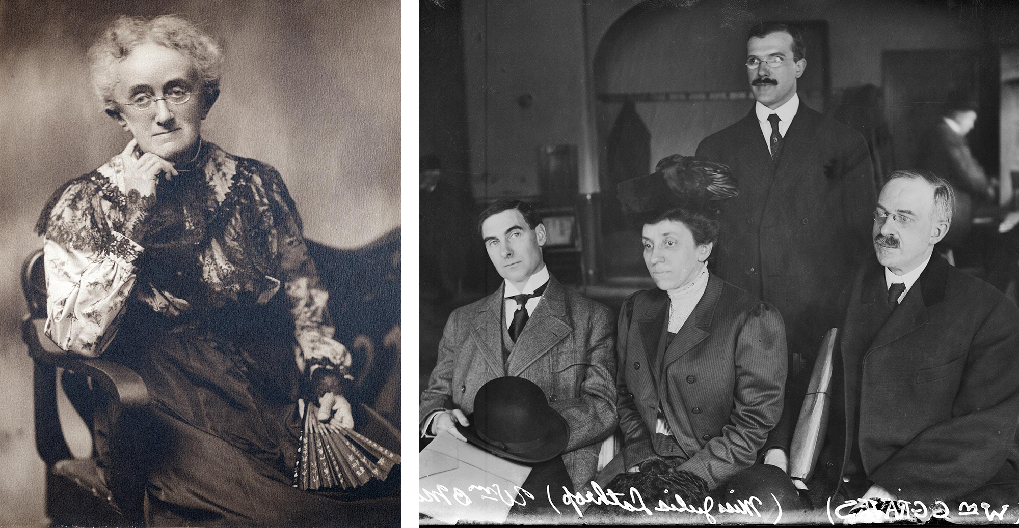 Progressive Era social activists Lucy Flower (left) and Julia Lathrop (right) spearheaded the creation of the juvenile court. (Left photo credit: Lucy L. Flower, one of the founders of the ITSN. Portrait. MNHR_0002_0001_076, Illinois Training School for Nurses digital image collection, Special Collections and University Archives, University of Illinois at Chicago) (Right photo credit: Chicago History Museum, DN-0005711)