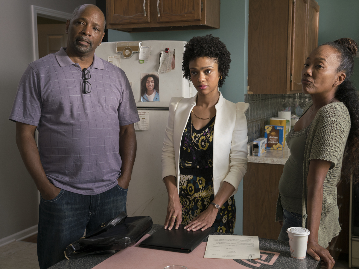 David Alan Anderson as Greavy, Tiffany Boone as Jerrika and Sonja Sohn as Laverne. (Parrish Lewis/SHOWTIME)