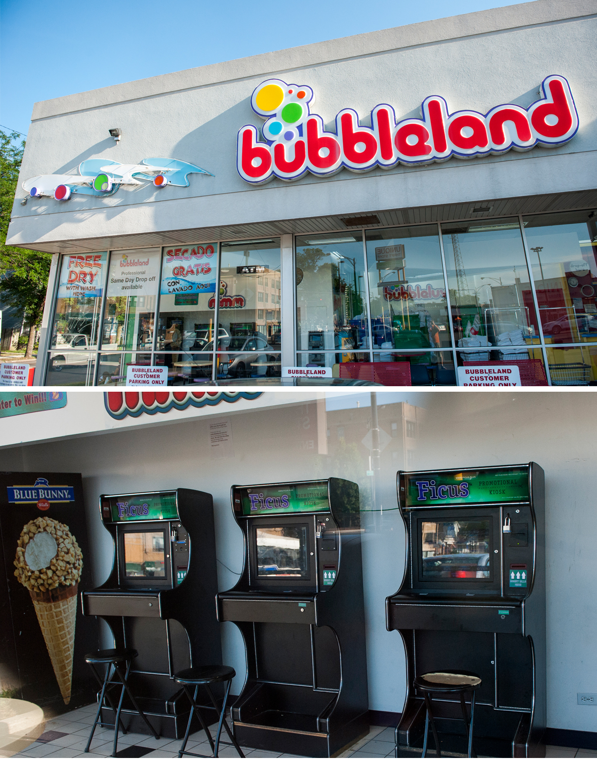 There are three sweepstakes machines at Bubbleland, a laundromat at Elston and Kimball. (Bill Healy/WBEZ)