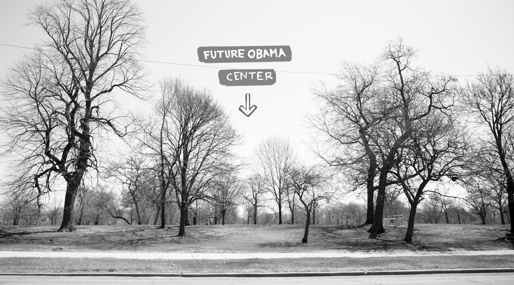 The Obama Presidential Center is expected to be built along Stony Island Avenue in Jackson Park. Plans for the center include a Chicago Public Library branch, museum, and forum building to serve as a public meeting space. (Photo illustration by Paula Friedrich and Andrew Gill/WBEZ)
