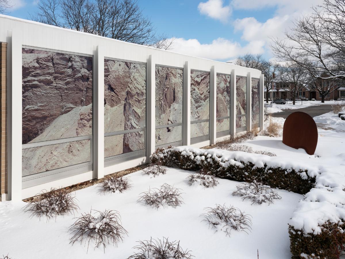 The exterior of McCormick House features the work of Israeli-born artist Assaf Evron. (Jim Prinz/Elmhurst Art Museum)