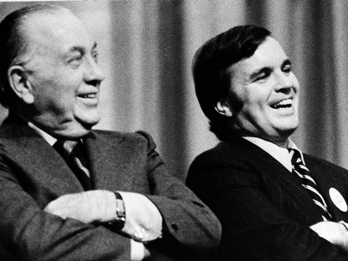 Richard J. Daley (left) and his son, Richard M. Daley (right), both served as mayors of Chicago for a total of 43 years cumulatively. Both Daleys made it more difficult to obtain and keep a liquor license, contributing to a decline in the number of bars in the city. 20th century. (AP Photo/FILE)