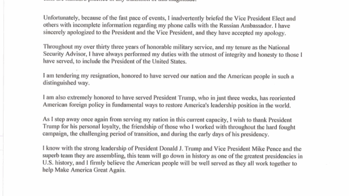 READ: Michael Flynn\'s Resignation Letter As National Security ...