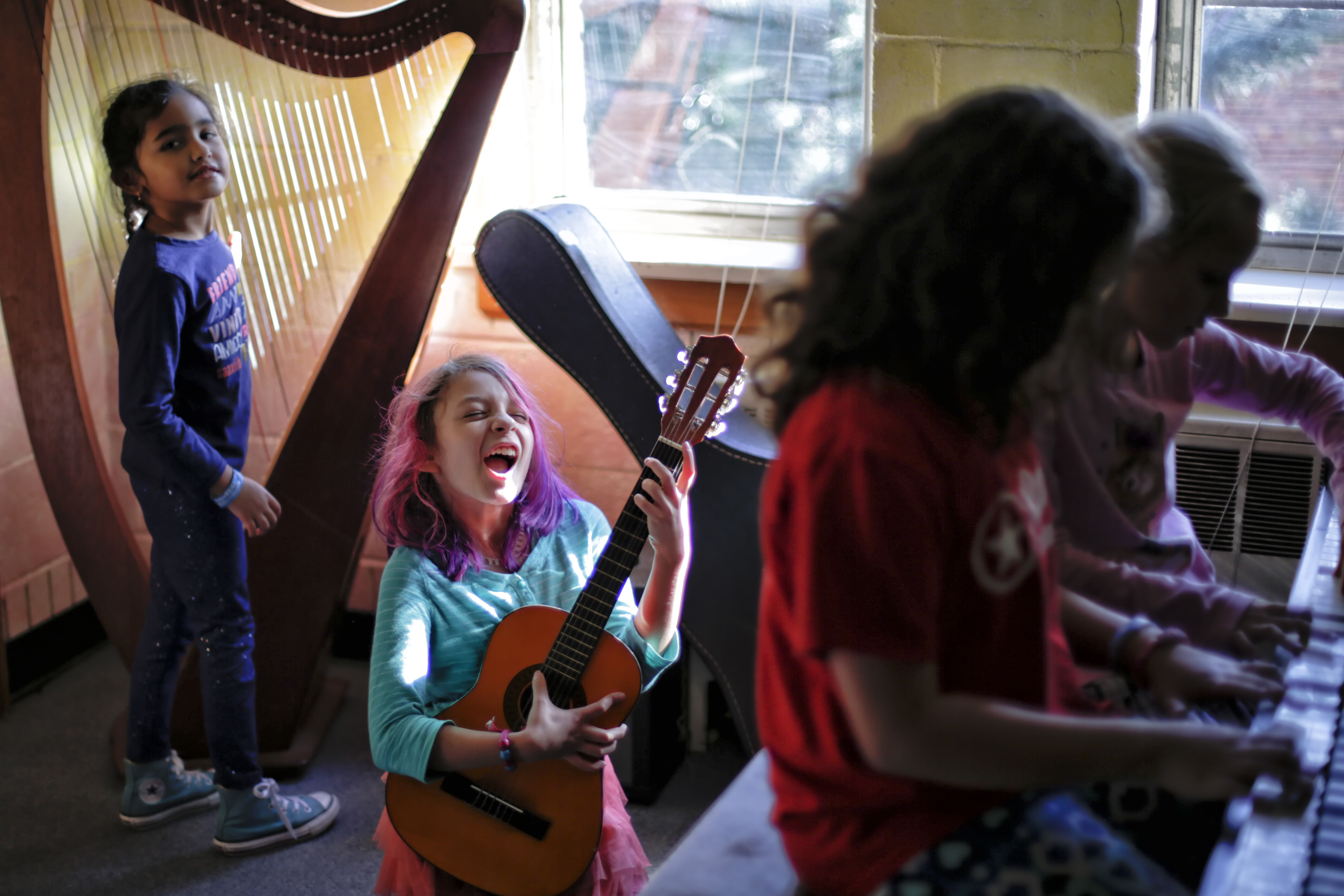 Students at Tallgrass Sudbury School play music. (Martin Hernandez Rosas/Courtesy of Tallgrass Sudbury School)