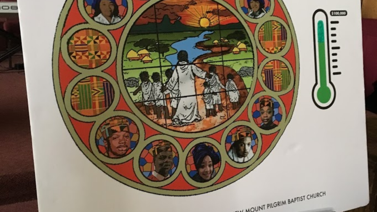 A rendering of the Sankofa Peace Window at New Mount Pilgrim Missionary Baptist Church shows images of five Chicago youths who died violently. (Marley Arechiga/WBEZ)