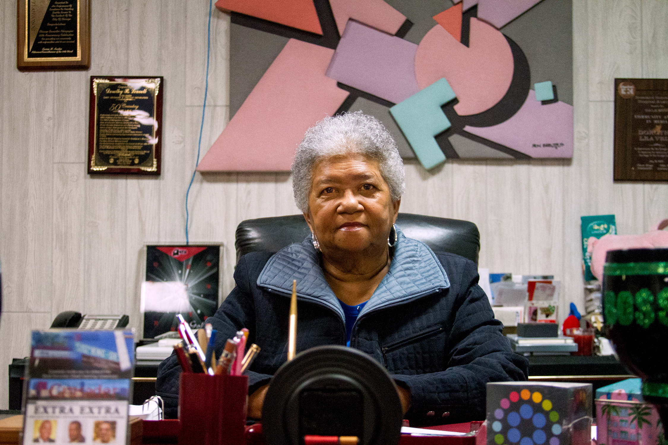 Dorothy Leavell, editor and publisher of the Chicago Crusader, a black newspaper across the street from Parkway Gardens, in her office on Feb. 27, 2017. (Andrew Gill/WBEZ)