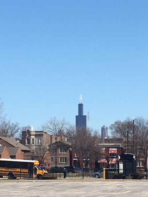 A view of the Sears Tower (now Willis Tower) from Sears' former site on Homan and Arlington streets. (Dennis Rodkin for WBEZ)