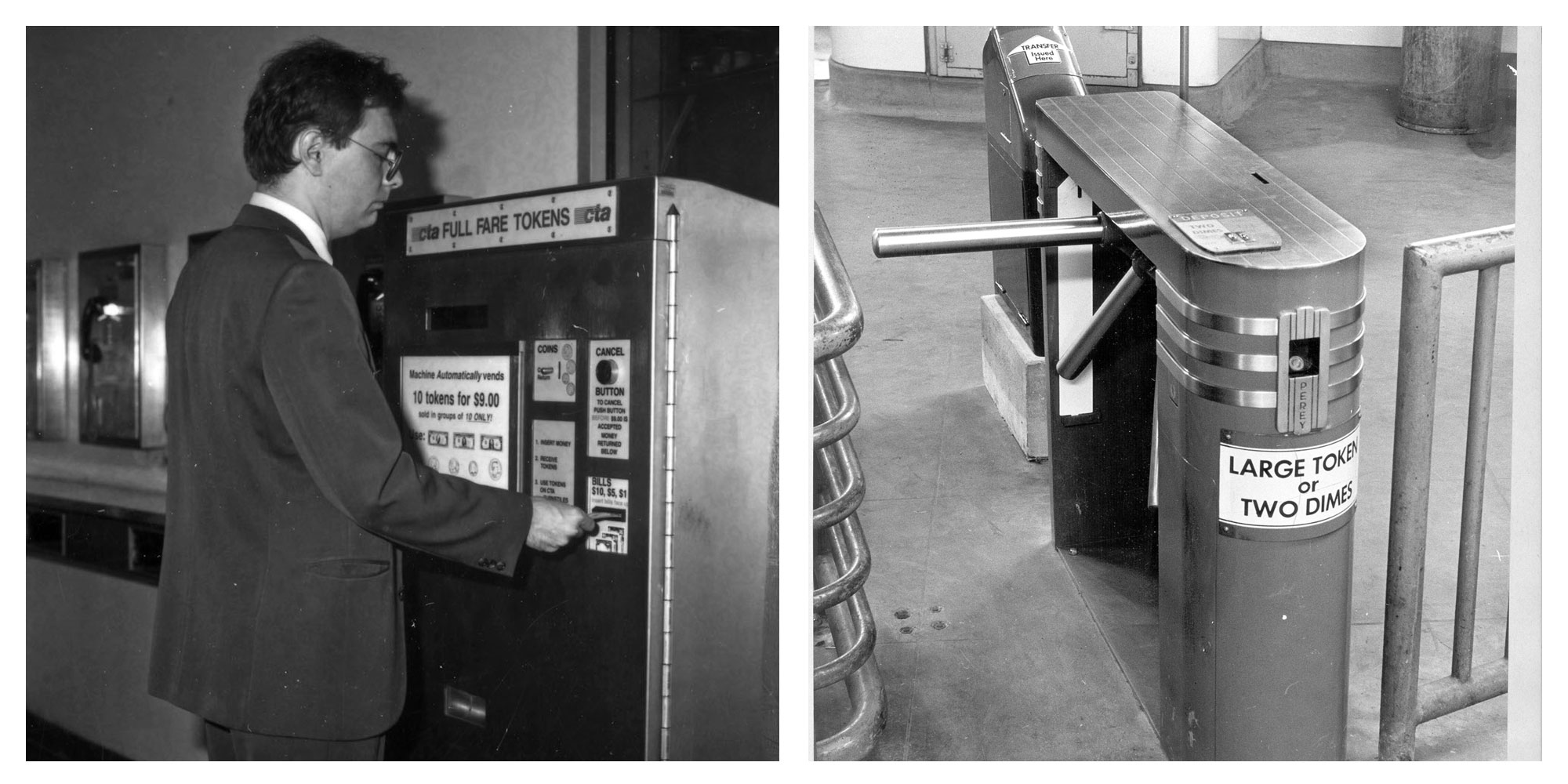 The first token turnstiles were installed in 1954 (right); as technology advanced, CTA tokens were detected by size and weight using infrared light. By 1991, tokens could be purchased from automated machines (left). (Courtesy Chicago Transit Authority)