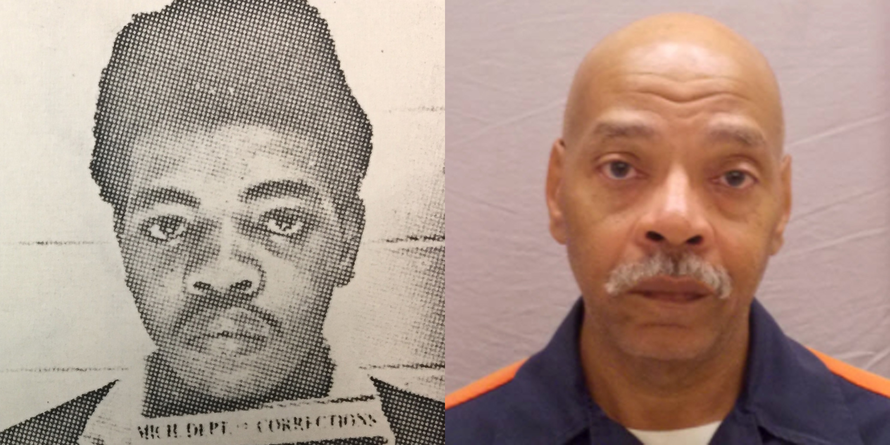 This combination of photos provided by the Michigan Department of Corrections shows Chester Lee Patterson in 1971 and in Aug. 8, 2015. Patterson has been behind bars for 45 years. (MDOC via AP)
