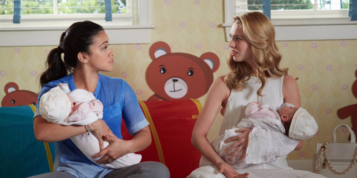 Yael Grobglas, right, tells 'Nerdette' she's open to playing a triplet on 'Jane the Virgin': 'I kind of have a secret dream of some skinny dude showing up with a mustache,' she says. (Danny Field/Courtesy of the CW Network)