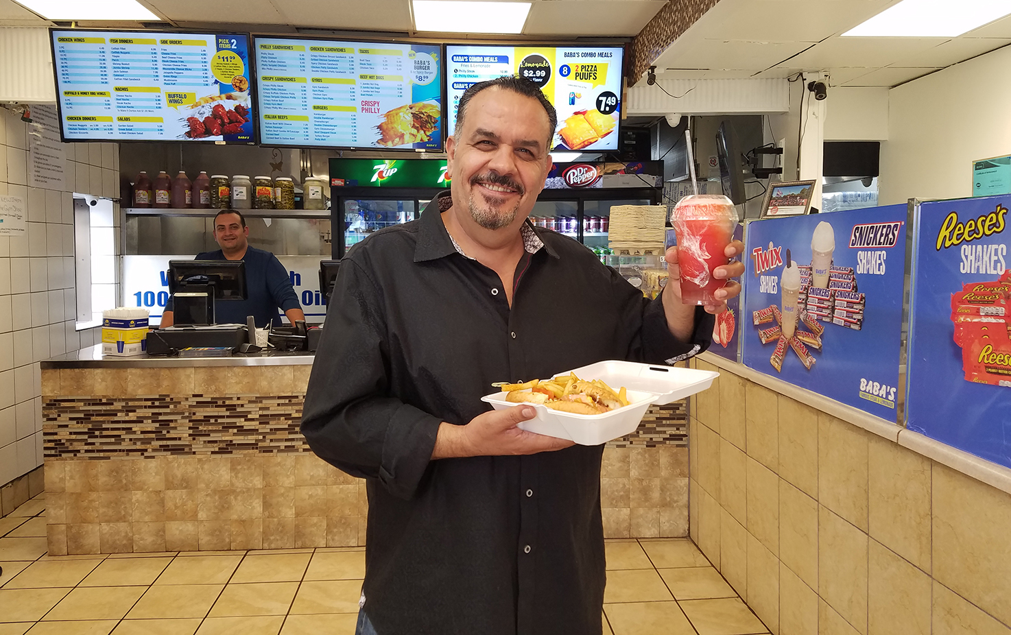 Jordan-native Haitham 'Mario' Allabadi opened the first Baba's Famous Steak and Lemonade restaurant in 1998 in south suburban Country Club Hills. (WBEZ/Monica Eng)
