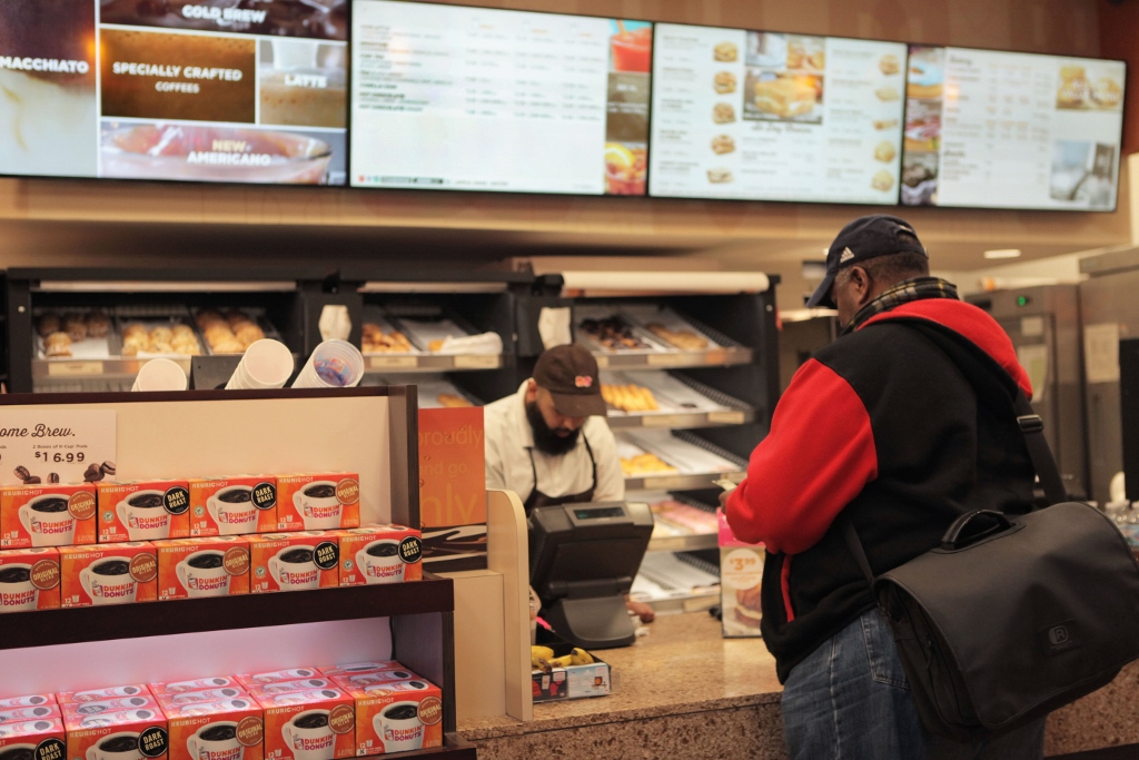 On especially cold days, Cunningham would frequent the Dunkin Donuts near State and Van Buren to warm up with a hot cup of coffee. (WBEZ/Maggie Sivit)