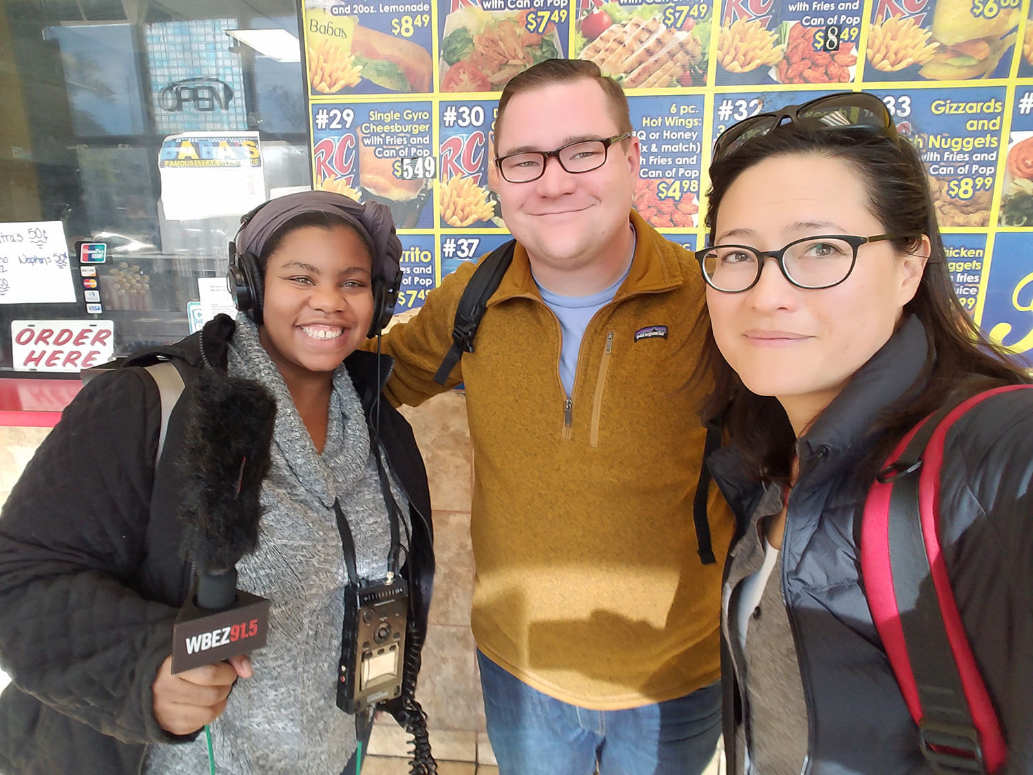 To find out who invented 'Steak and Lemonade,' questioner Johnny Schulte (center) traversed across Chicago and the suburbs with Curious City intern Olivia Richardson (left) and Curious City reporter Monica Eng (right).