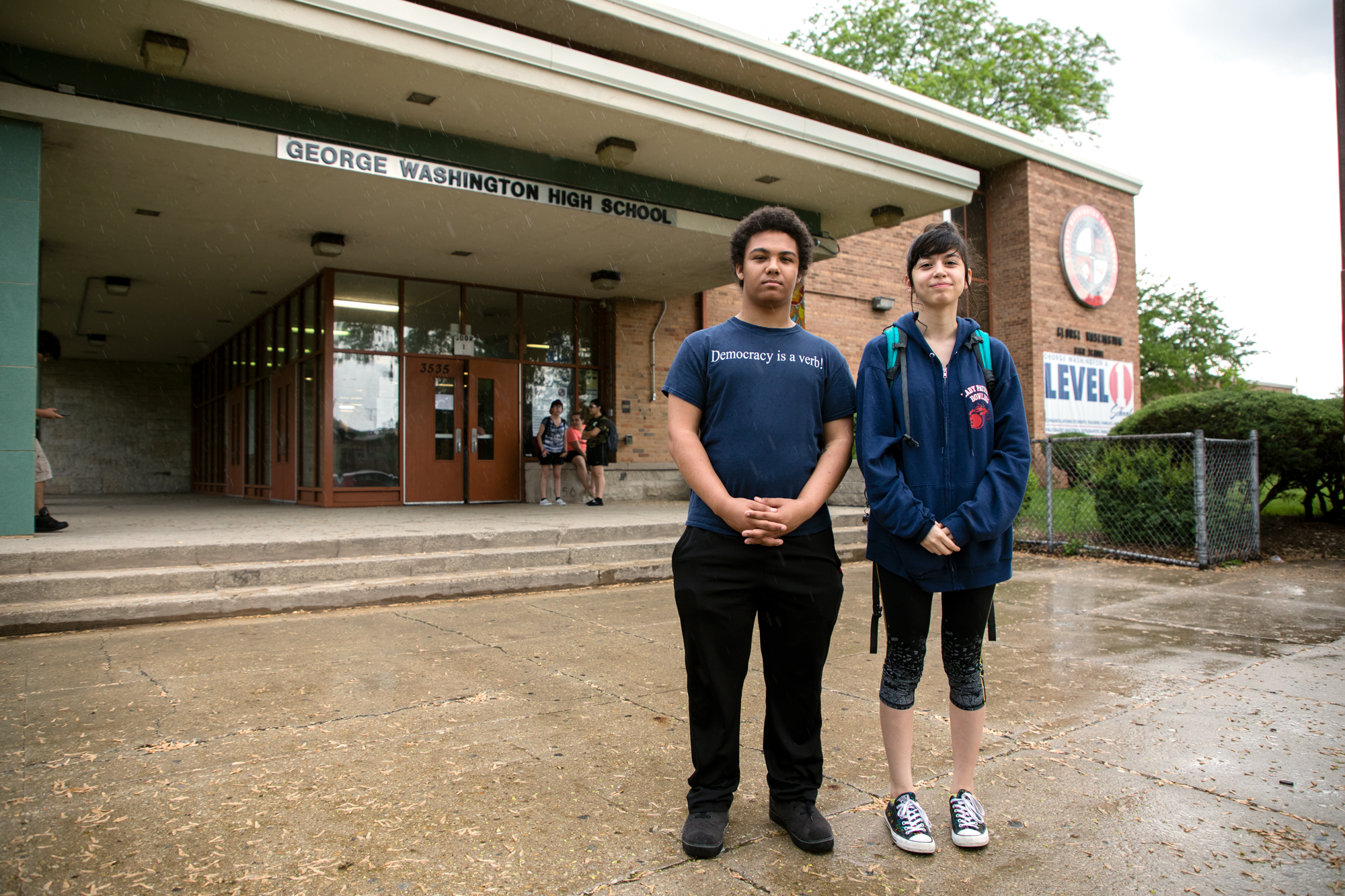 After Washington High School students Natalie Torres and Gerald Sullivan confronted Chicago Board of Education members in May, they were told their school was now at the top of a school repair priority list. (Andrew Gill/WBEZ)