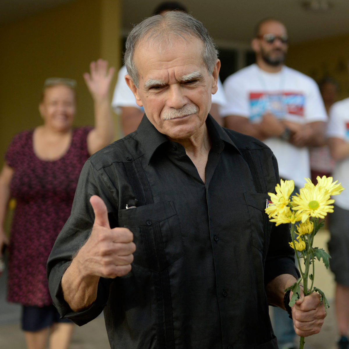 Puerto Rican nationalist Oscar Lopez Rivera gestures as he is released from home confinement after 36 years in federal custody, in San Juan, Puerto Rico, Wednesday, May 17, 2017. Lopez was considered a top leader of Puerto Rican militant group that said it was responsible for more than 100 bombings in several U.S. cities and Puerto Rico during the 1970s and early 1980s. (Carlos Giusti/AP)
