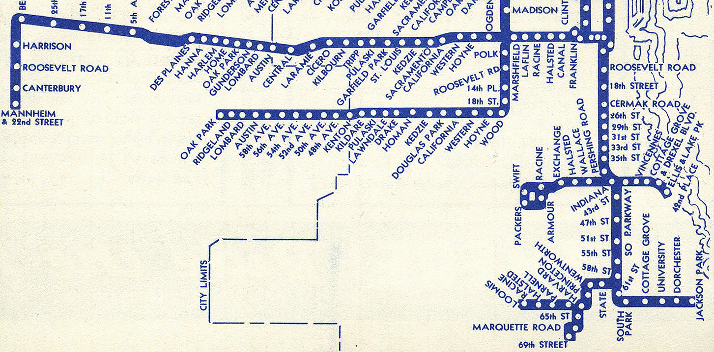 The South Side Elevated, which we know today as the Green Line, used to have many forks, as shown in this 1940 map. Click to enlarge. (Source: chicago-l.org)
